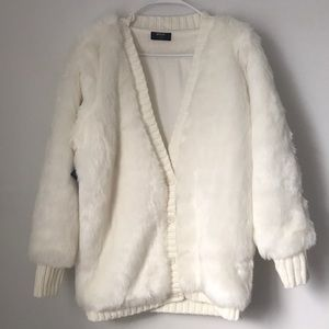 Nasty gal white faux fur sweater jacket small NWT